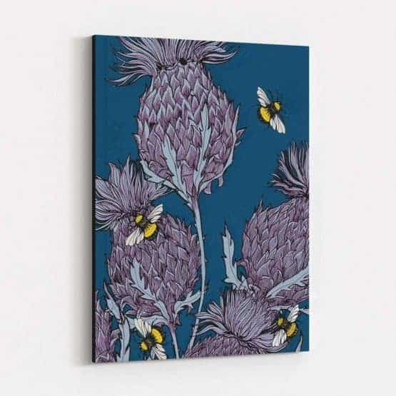 Indigo Thistle Stretched Canvas by Gillian Kyle