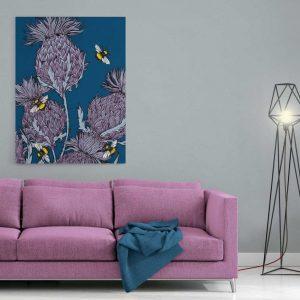 Scottish thistles canvas print in indigo by Gillian Kyle