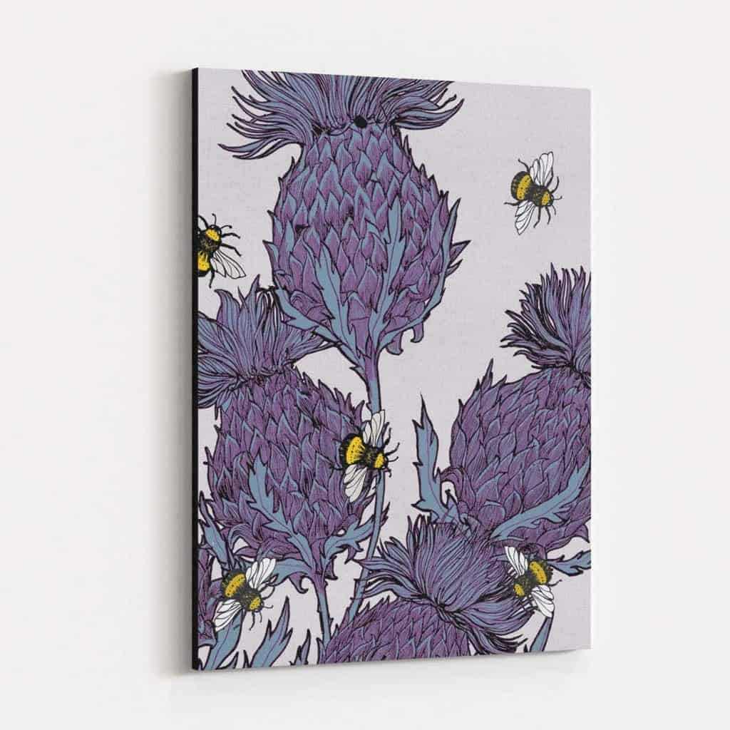 jaggy thistles u0027 canvas print in lilac various sizes gillian kyle