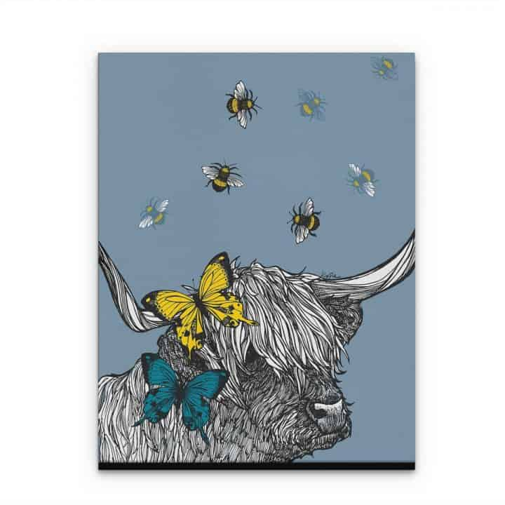 Gillian Kyle Scottish Art Canvas and Prints Gallery, Scottish Wildlife Art, Lola the Highland Cow canvas print