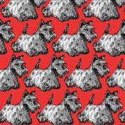 Scottie print detail in red