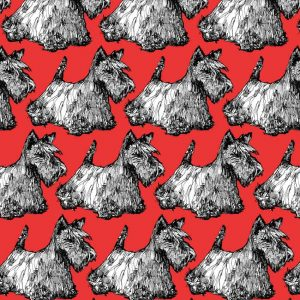 Scottie print detail in red