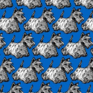 Scottie print detail in blue