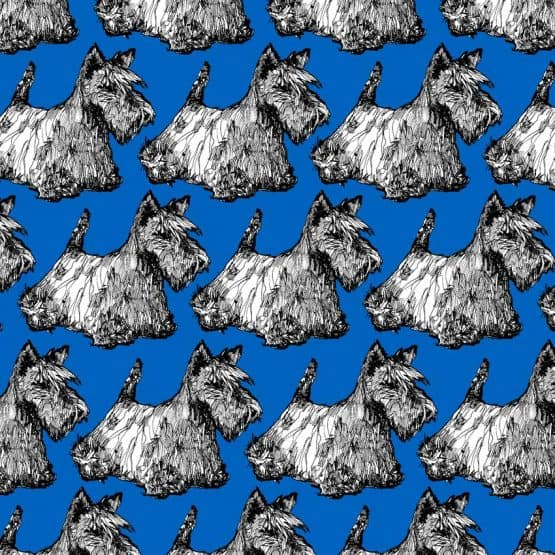 Scottie print detail in blue
