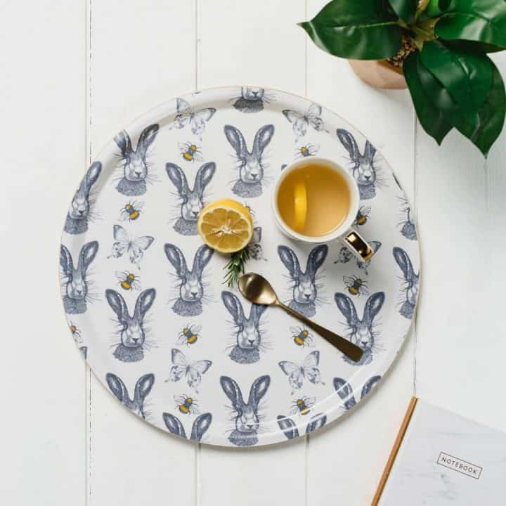 Beautiful Hare pattern serving tray by Gillian Kyle