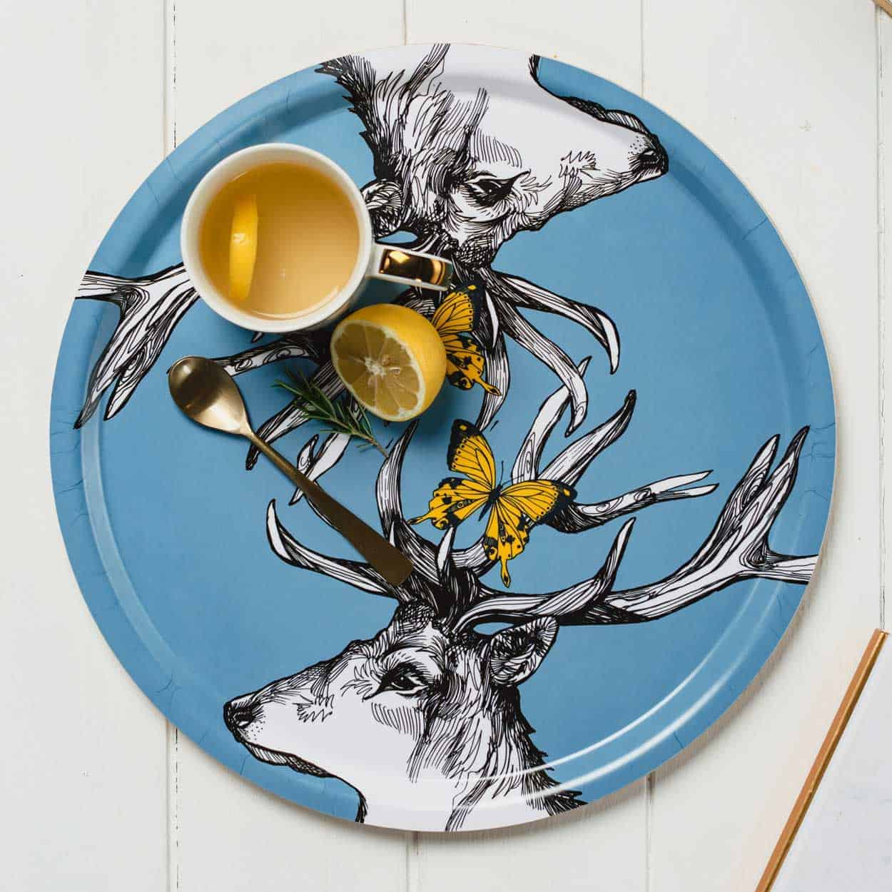 Mr Stag serving tray by Gillian Kyle