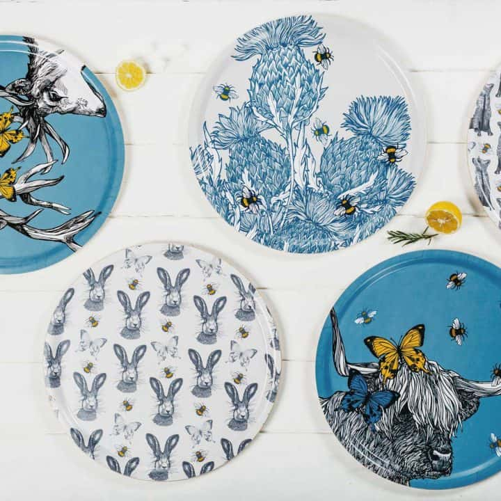 Beautiful Thistle pattern serving tray by Gillian Kyle