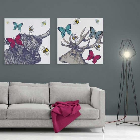 Colourful Stag and Highland cow canvas prints by Gillian Kyle
