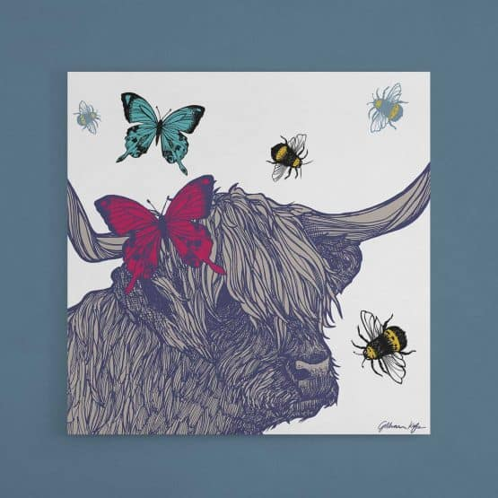 Scottish wildlife wall art canvas print with highland cow butterflies and bees by Gillian Kyle
