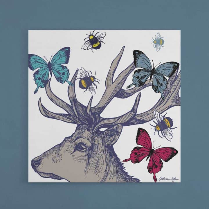 Scottish wildlife wall art canvas print with stag butterflies and bees by Gillian Kyle