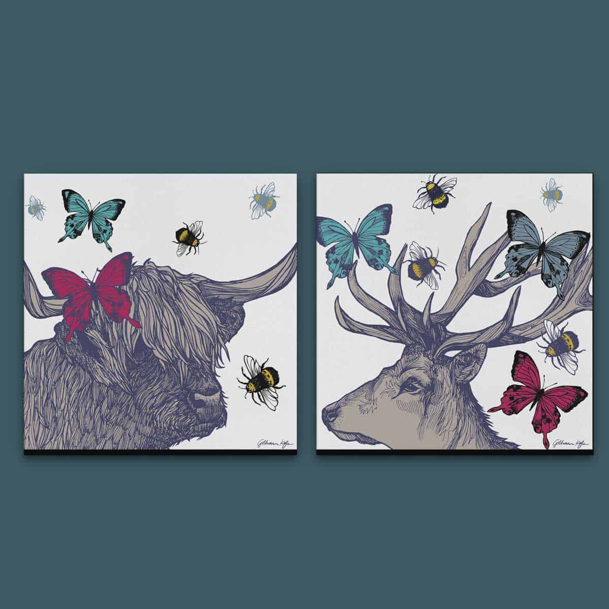 wall art canvas prints with stag, highland cow, butterflies and bees
