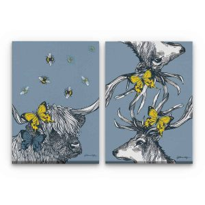 Stag and Highland Cow stretched canvas prints