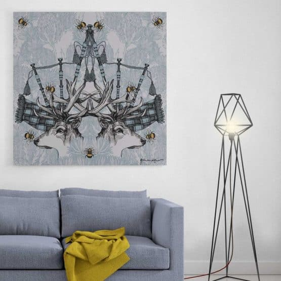 Monarch large canvas print in silver blue by Gillian Kyle