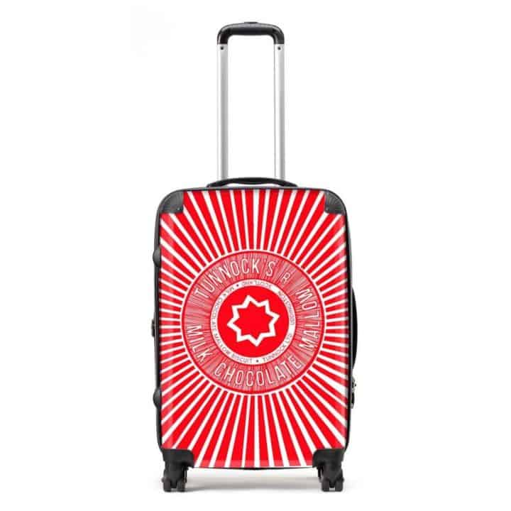 Suitcase in Tunnock's Teacake Wrapper design y Gillian Kyle