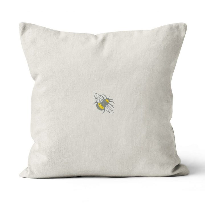 Cushion with butterflies and bees by Gillian Kyle