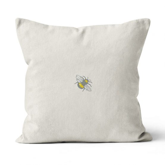 Cushion with hare, butterflies and bees by Gillian Kyle