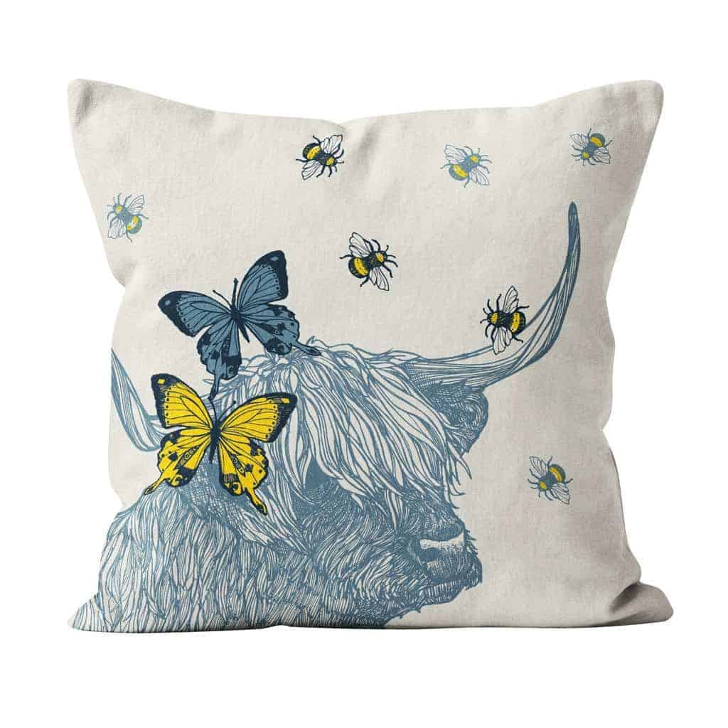 Scottish Highland Cow cushion by Gillian Kyle