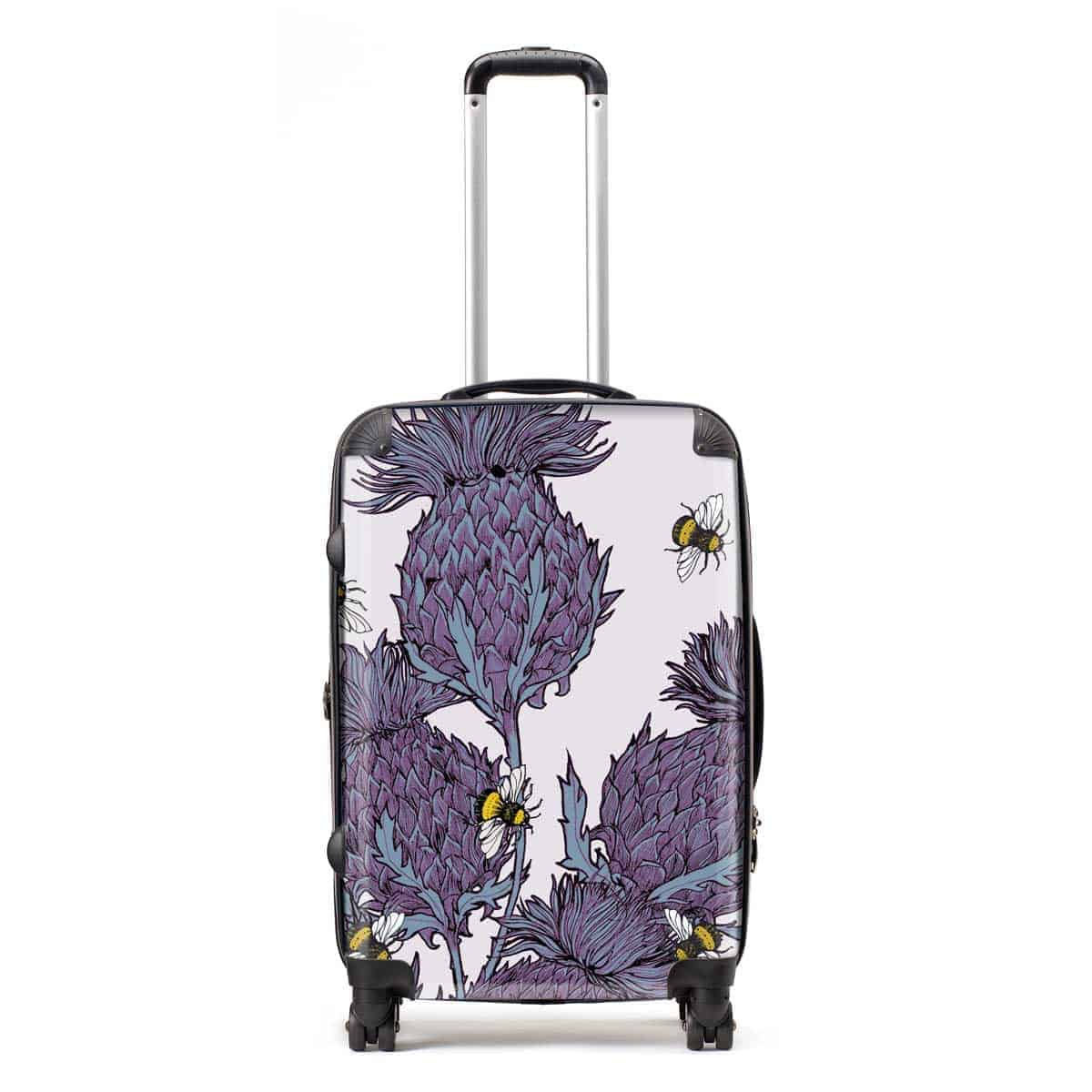 Lilac Thistles Suitcases by Gillian Kyle