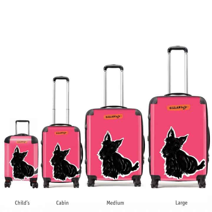 suitcases with big scottie dog print by Gillian Kyle