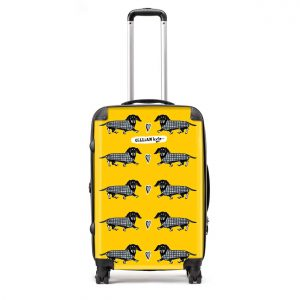 dashing hounds sausage dog dachshund print luggage by Gillian Kyle