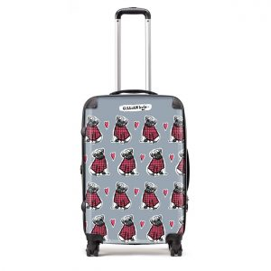 luggage with pug repeat pattern by gillian Kyle