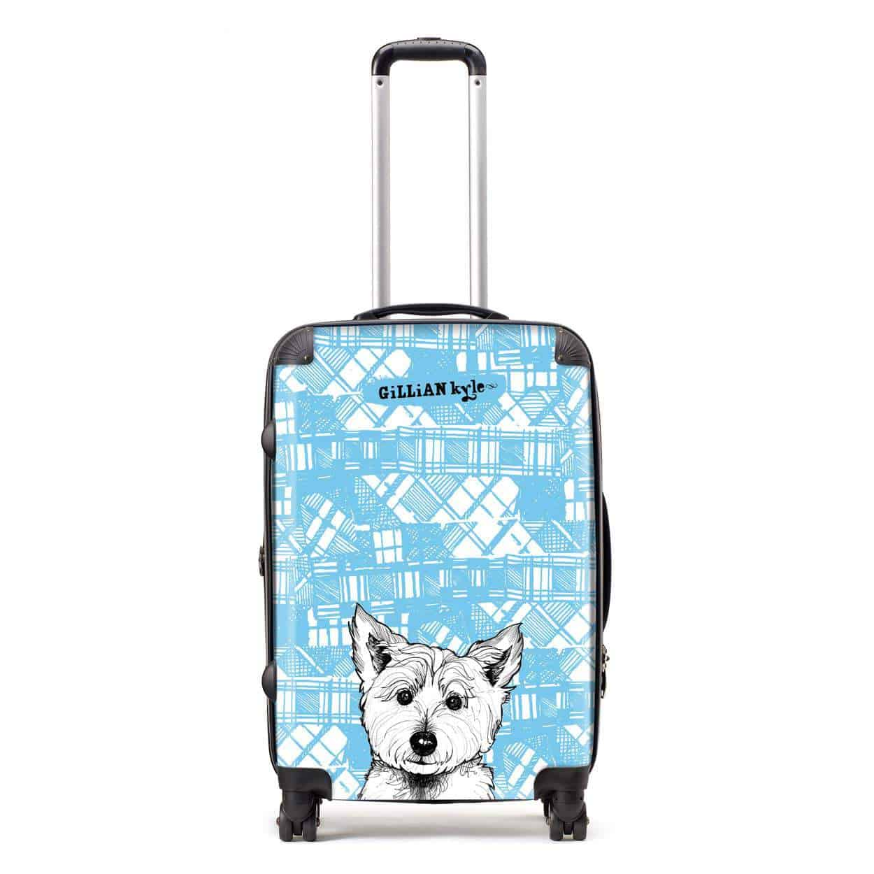 Scottish suitcase with tartan westie print by gillian kyle