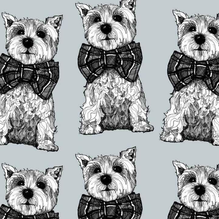 gillian kyle designer suitcase print detail - Archie westie dog design