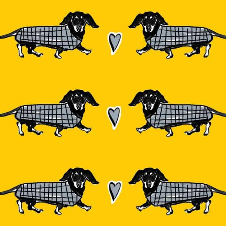 dashing hounds sausage dog dachshund luggage print by Gillian Kyle