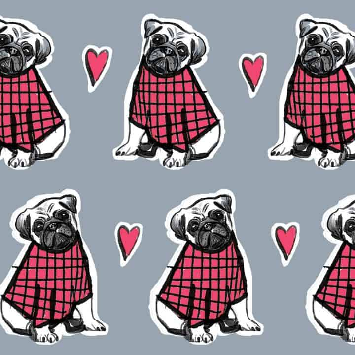 luggage print with pug repeat pattern by gillian Kyle