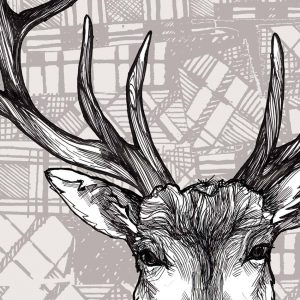 luggage print detail in tartan stag by Gillian Kyle