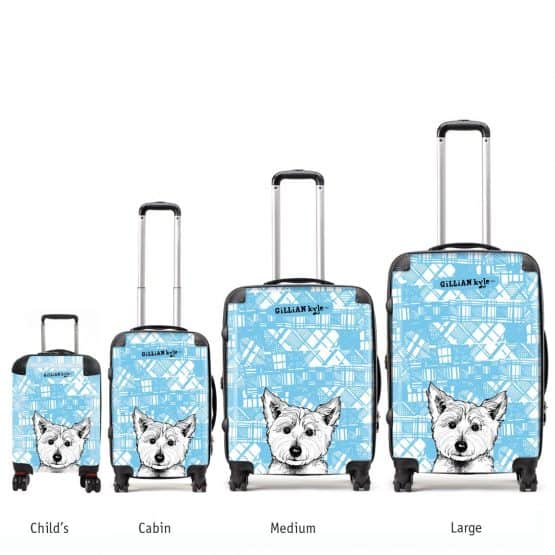 Scottish suitcases with tartan westie print by gillian kyle