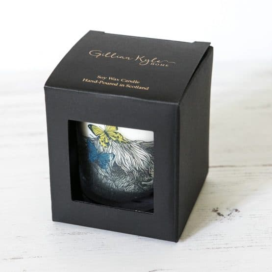 scented candle with highland cow in box by Gillian Kyle