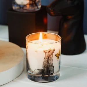 Scented candle with fox design by Gillian Kyle