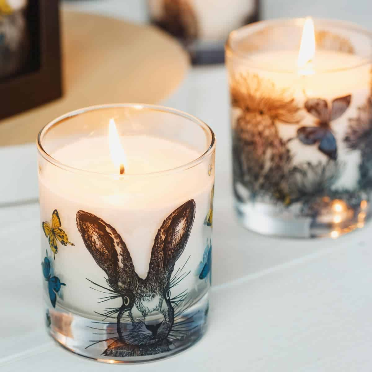 Scented candle with hare design by Gillian Kyle