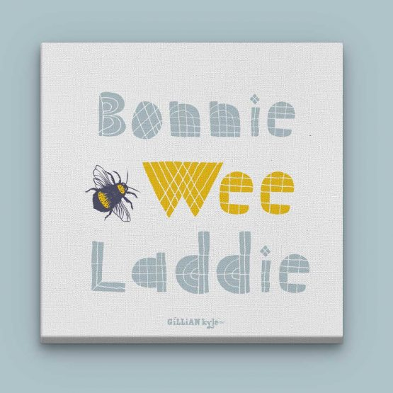 Gillian Kyle Scottish Art, Prints and Canvases Art Gallery. Bonnie Wee Laddie, boys nursery art christening gift