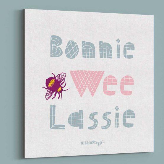 Gillian Kyle Scottish Art Gallery Bonnie Wee Lassie new baby gift art canvas print