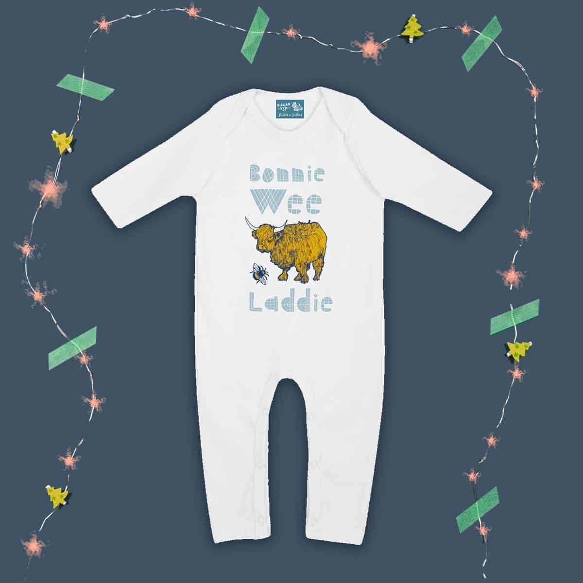 Gillian Kyle, Scottish baby clothing, Scottish baby gift, organic cotton, baby romper sleepsuit, bonnie wee lassie range, scottie dog and butterfly print