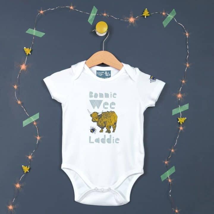 Gillian Kyle, bonnie wee laddie, Scottish baby gift, Scottish Baby clothing