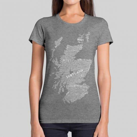 Gillian Kyle, Scottish clothing, Scottish T-shirt, Scottish ladies clothing, Scottish t-shirt with map print