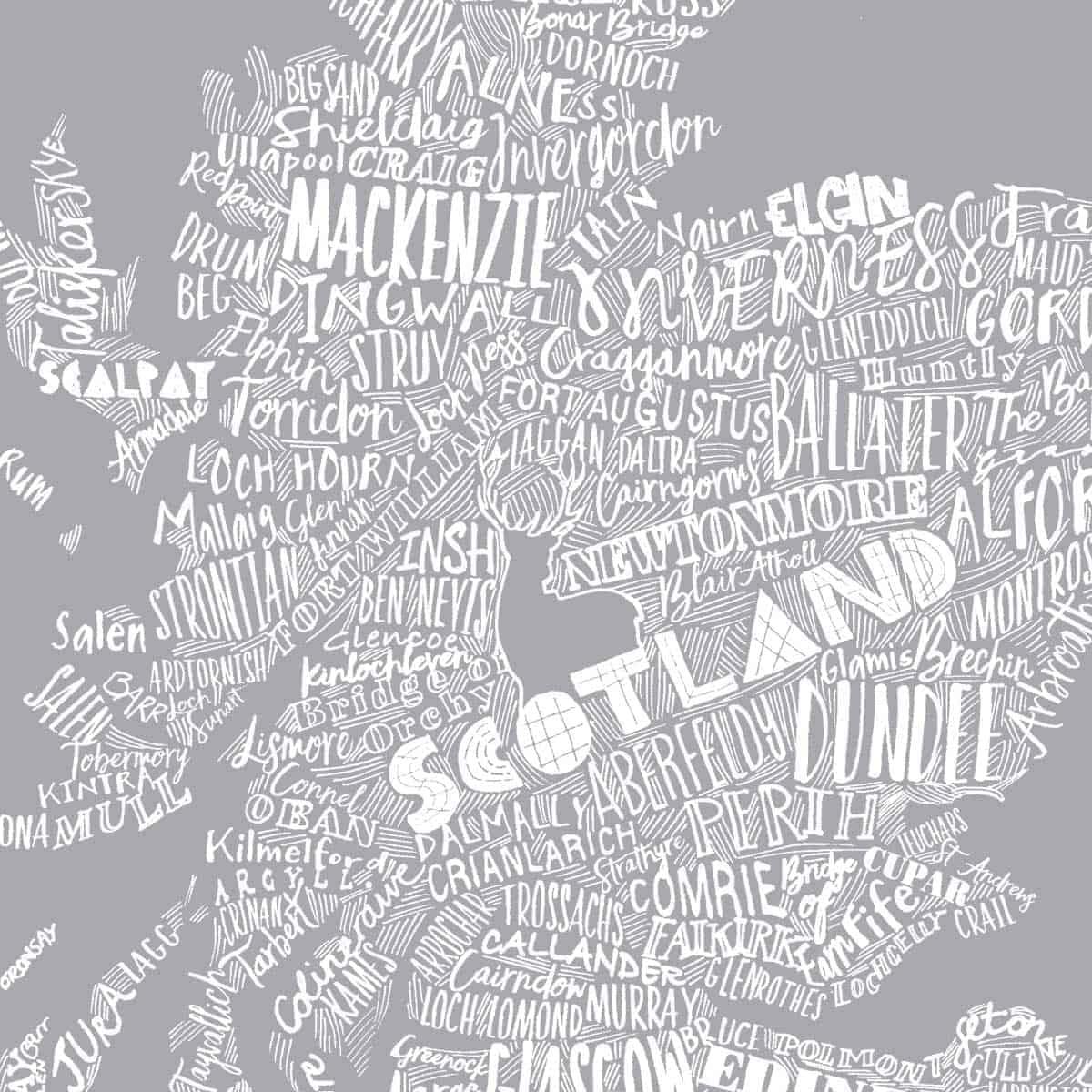 3c4e0a4724d Gillian Kyle Scottish Clothing Scotland Map Ladies Tee Shirt Grey