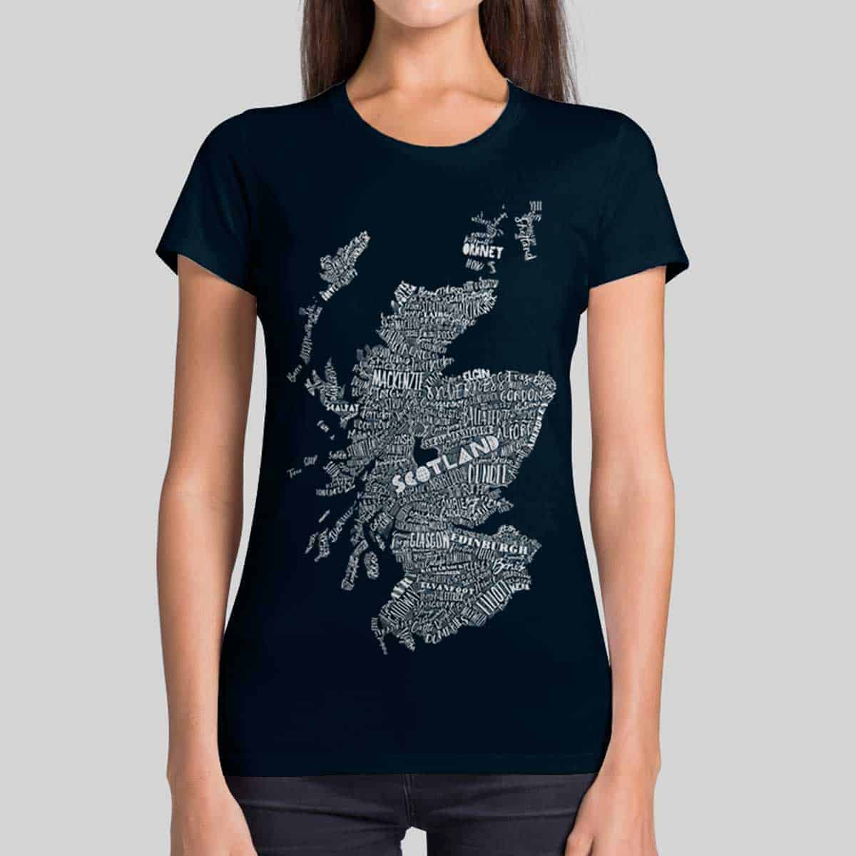 Gillian Kyle, Scottish clothing, Scottish T-shirt, Scottish ladies clothing, Scottish t-shirt with map print