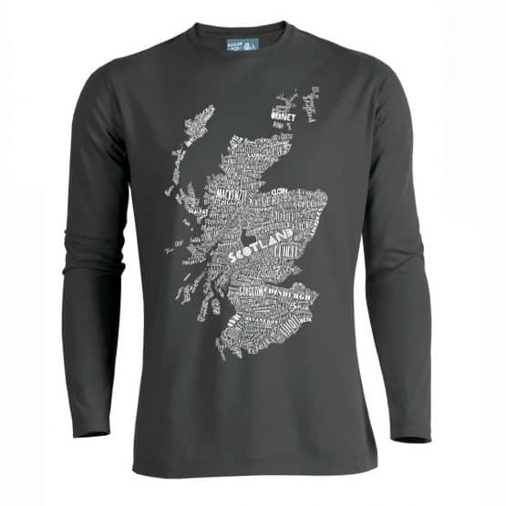 Gillian Kyle, Scottish clothing, Scottish mens long sleeve top, Scottish mens t-shirt, Scottish T-shirt with hand drawn map print