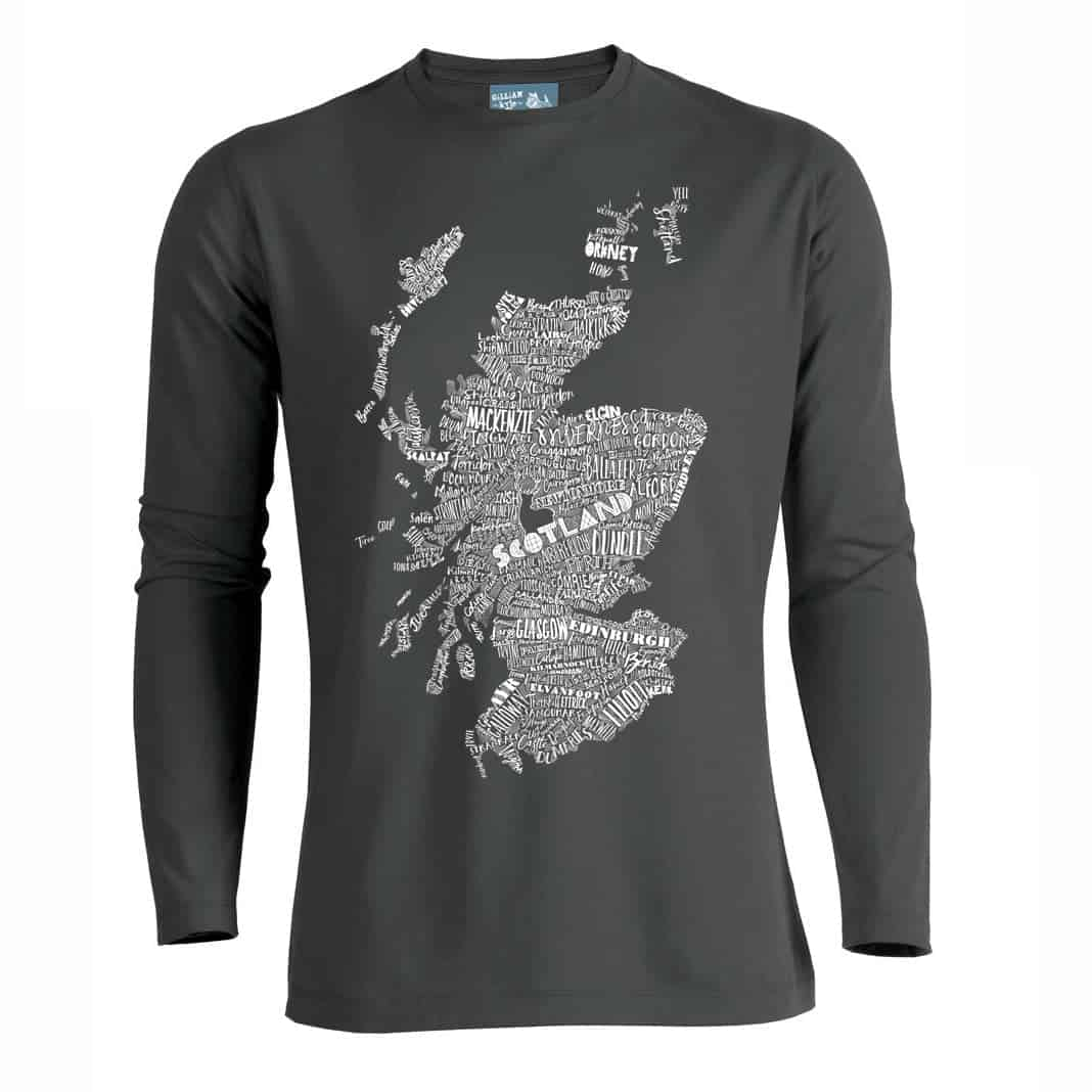Gillian kyle scottish clothing scotland map mens tee shirt for Mens long sleeve t shirts sale