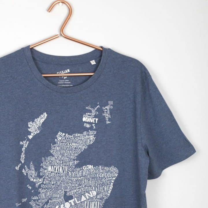 Gillian Kyle, Scottish men's clothing, Scottish unisex clothing, Scottish t-shirt, Scotland map print detail
