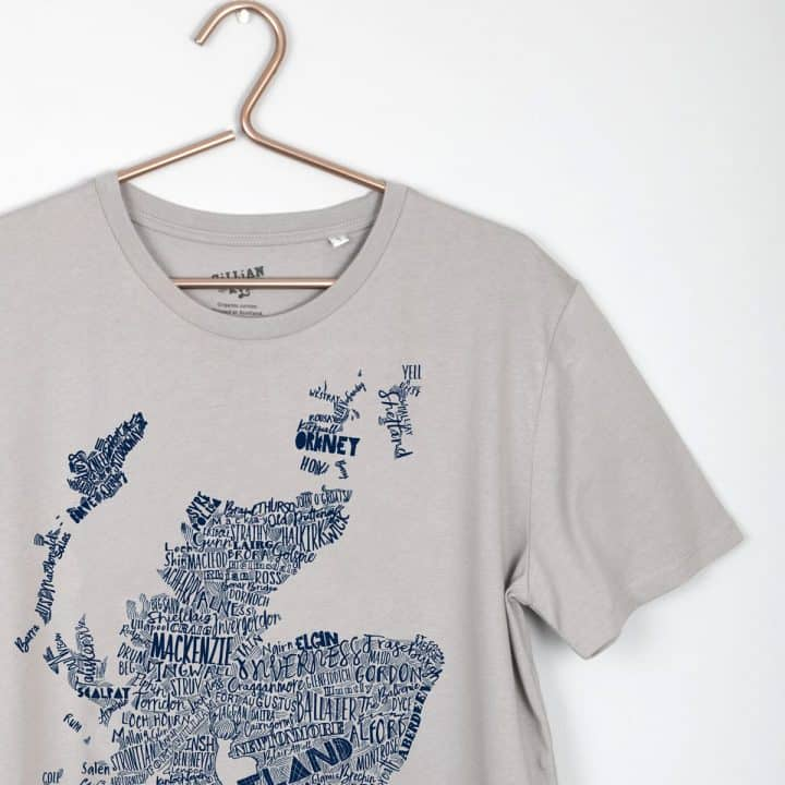 Gillian Kyle, Scottish men's clothing, Scottish unisex clothing, Scottish men's t-shirt, Scottish unisex t-shirt, Scottish clothing, Scottish clothing with map print detail