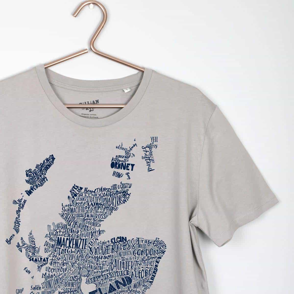 8d2a0e2e221 Gillian Kyle Scottish Clothing Scotland Map Mens Tee Shirt Grey