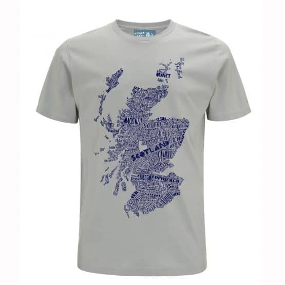 Gillian Kyle, Scottish men's clothing, Scottish unisex clothing, Scottish men's t-shirt, Scottish unisex t-shirt, Scottish clothing, Scottish clothing with map print detail