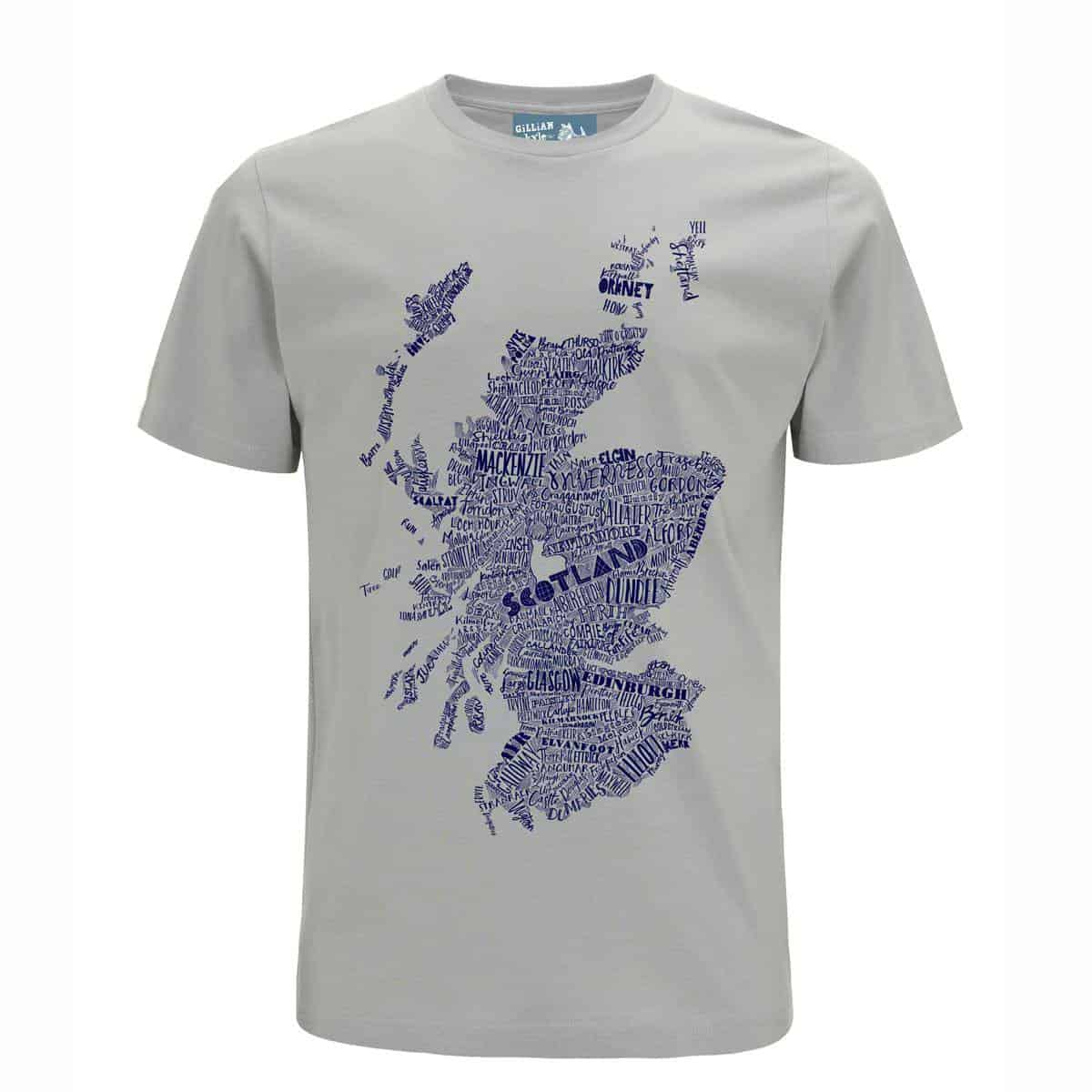2d9cf4deb55ac Gillian Kyle Scottish Clothing Scotland Map Mens Tee Shirt Grey