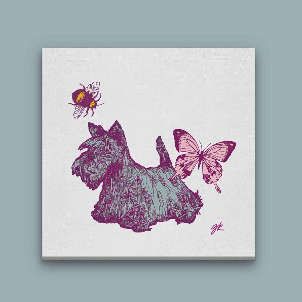 Gillian Kyle Scottish Canvas Prints Art Gallery, Bonnie Wee Scottie Scottish Terrier and Bee Canvas Print