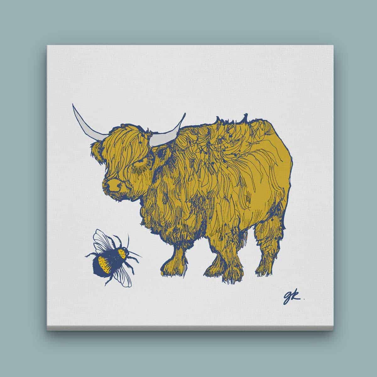 Gillian Kyle Scottish Canvas Prints Art Gallery, Bonnie Wee Coo Highland Cow and Bee Canvas Print